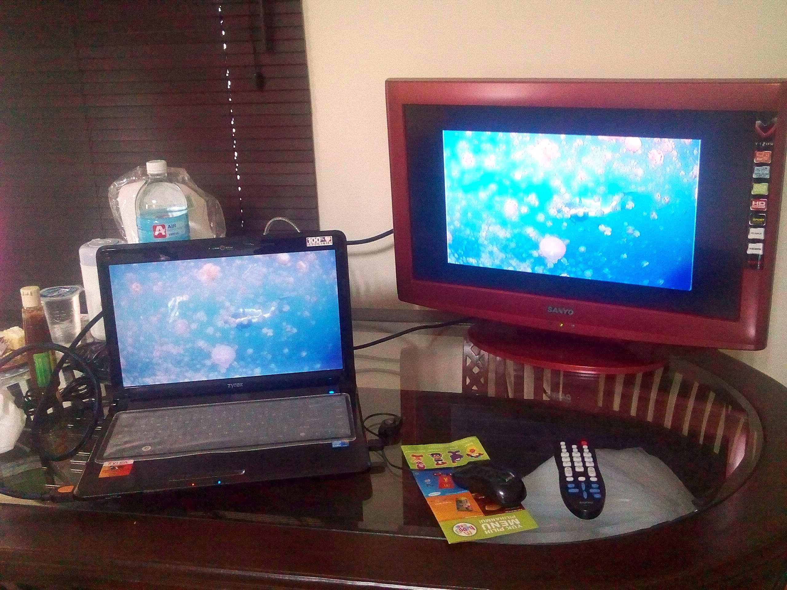 Koneksi Laptop Dg TV LCD Menggunakan Kabel HDMI